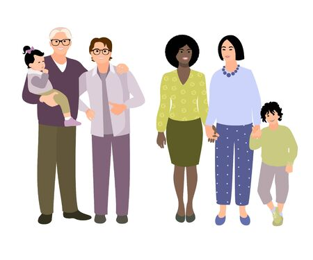 Set of families with kids. Collection people different races. Happy couples. Vector cartoon style illustration.