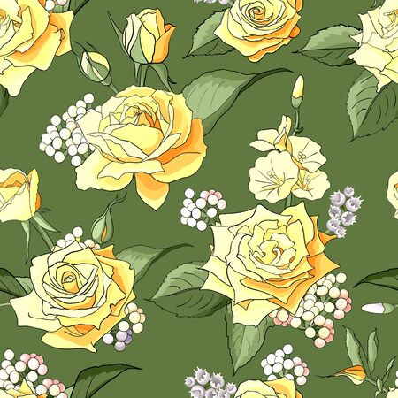 Seamless pattern with roses. Flowers, leaves on white background. Abstract colorful pattern in floral style. Idea for material, scarf, fabric, textile, wallpaper, wrapping paper. Vector illustration 矢量图像