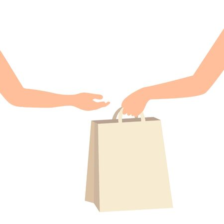 Hand holding and giving paper bag to other hand. Customer receiving shopping bag from courier, volunteer, social woker. Donation delivery service. Senior care. Hand to hand assistance. Vector illustration