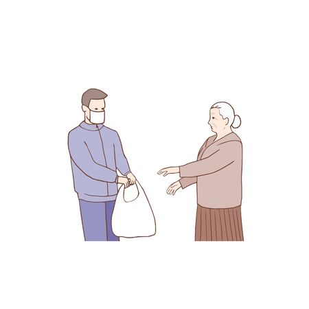 Medical masked volunteer brought bags, box to senior couple. Courier man. Delivery online service. Deliveryman carrying packages with donation food. Social support for seniors. Online assistance.