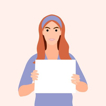 Happy young pretty girl holding/showing/displaying white blank board/banner/poster.Hand drawn style vector design illustrations.