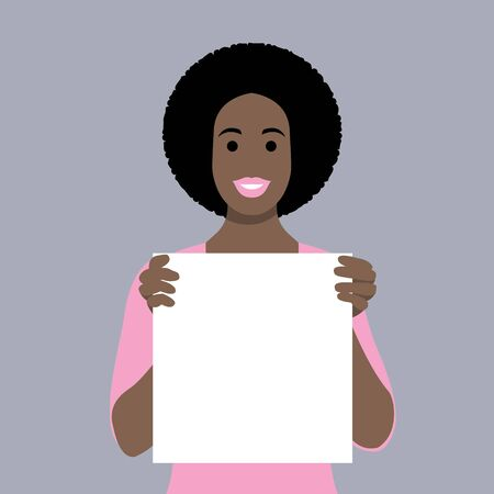 Happy young black girl holding/showing/displaying white blank board/banner/poster.Hand drawn style vector design illustrations. 矢量图像