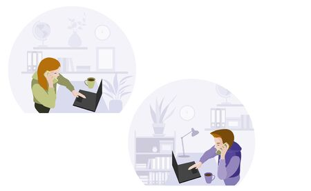 Man and woman sitting at desks working on laptops connected in network and cellphone. Set of characters. Global outsourcing. People using cloud system in distant work and data storage.
