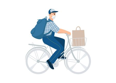 Bicycle delivery man with parcel box on the back. Ecological city bike food delivering service concept with courier carrying package. Food delivery cyclist. Medical masked volunteer with donation bag.