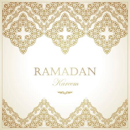 Ramadan Kareem card. Vintage banner for Ramadan wishing. Arabic decoration, oriental motifss. Gold ornaments in Eastern style.
