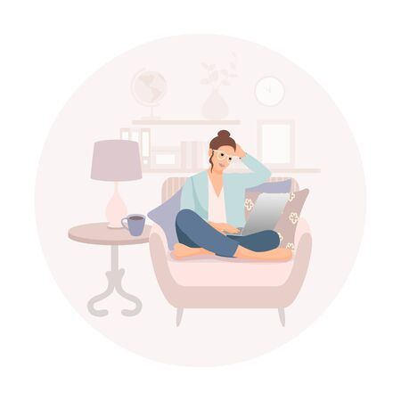 Girl with laptop sitting on the sofa. Freelance or studying concept. Cute illustration in flat style. 矢量图像