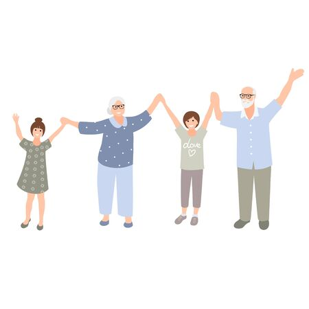 Happy grandparents and three grandchildren standing together. Senior couple with kids. Family spend time together. Vector