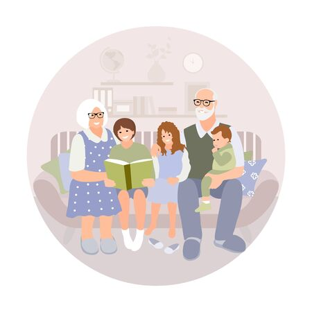 Pensioners, grandparents, older people concept. Older happy man and woman enjoy sitting with kids. Elderly couple sit with grandchildren. People in love. Simplevector.