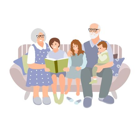 Grandparents sitting with grandchildren on a cozy sofa with the book, reading book of fairy tale story. Senior couple with kids.Vector 矢量图像