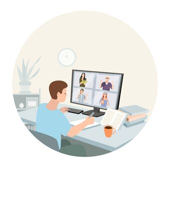 Young man working or learning at home. Freelance, work at home, online job, home office, e-learning concept. Remotely work, distance education, video chat. Vector for poster