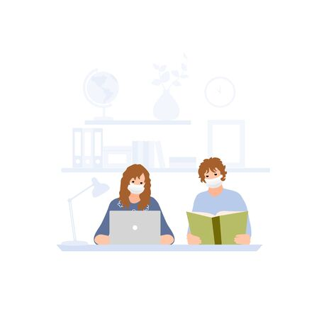 Children at home getting education. Kids reading book. Girl with laptop . Online distance studying. Freelance or studying concept. Vector