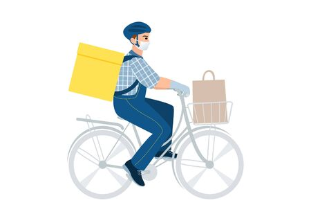 Medical masked volunteer driving bicycle. Social worker delivers package, flowers. Senior care. Courier man with parcel box. Delivery online service. Deliveryman with backpack and helmet. 矢量图像