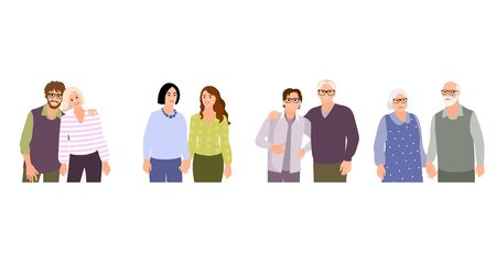 Collection of different types of romantic relationships and marriage - polygyny, interracial, lgbt and elderly couples isolated on white background. Love diversity. Flat cartoon vector .
