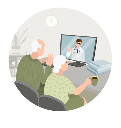 Elderly couple sit at home having online consultation with doctor on computer. Sick senior man and woman get video conference with clinic. Senior care. Healthcare concept. Vector