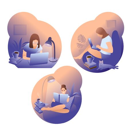 Collection of people reading or students studying and preparing for examination. Set of book lovers, readers, modern literature fans isolated on white background. Flat cartoon vector. 矢量图像