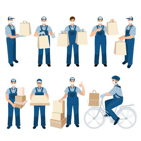 Set of medical masked volunteer brought box. Social worker delivers package . Taking care of older people. Stay at home. Courier man. Delivery online service. Deliveryman with order 矢量图像