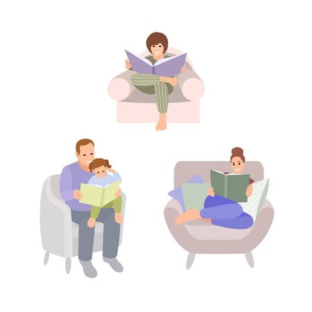 Collection of people reading or students studying and family fun time. Set of book lovers, readers, modern literature fans isolated on white background. Flat cartoon vector illustration.