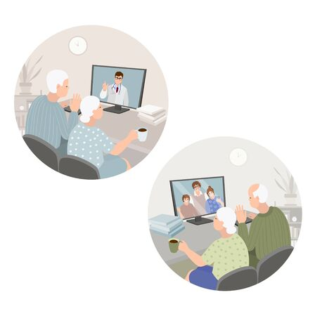 Set of video conference with grandparents or doctor. Retired parents have dialog with grandkids. Family chat using computer. Senior care. Parents and children online video chat at home. 矢量图像