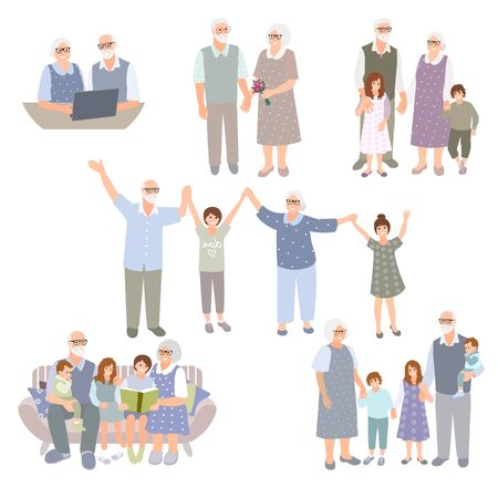 Set of grandparents with grandchildren. Happy family spend time together. Senior couple with kids. Parents, children cartoon characters isolated on white. Vector illustration 矢量图像