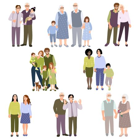 Set of family couples. People with kids. Collection people different races. Happy homosexual couples. LGBT male and female. Same sex partners. Senior couple. Vector