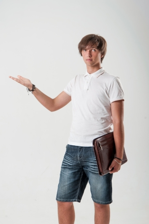 Young man with paper-case
