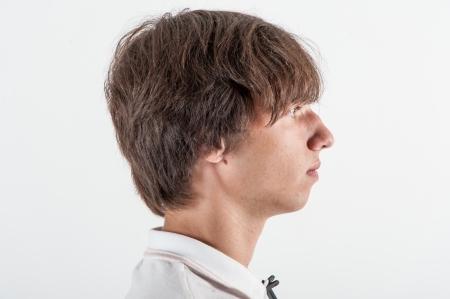 Young man, half face