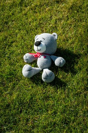 soft toy: Soft toy - grey bear lie on the grass