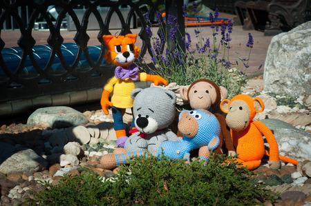 bear s: Soft toys - three monkeys, bear and cat.