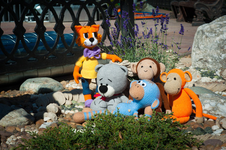 soft toys: Soft toys - three monkeys, bear and cat.