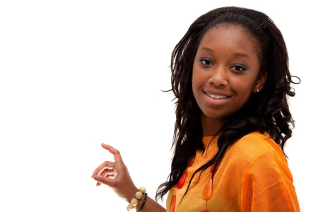 promotion girl: Young black woman smiling