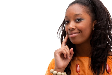 Young african american woman smiling photo