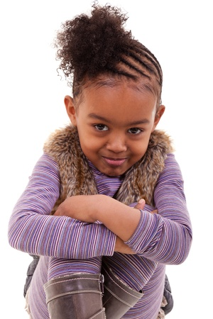 african child: cute little african american girl angry