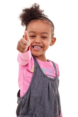 human thumb: Cute little black girl making thumbs up