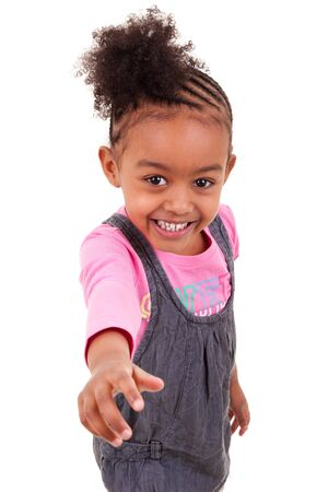 afro curly hair: cute little african american girl smiling