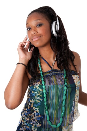 Pretty young african american girl listening music photo