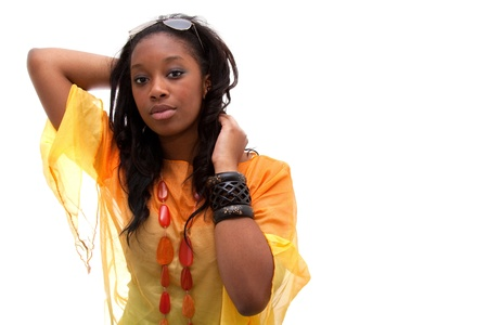 Young beautiful  african american woman looking Stock Photo - 9085898