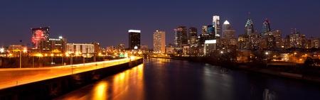 bells: Panoramic view of Philadelphia Skyline  by night