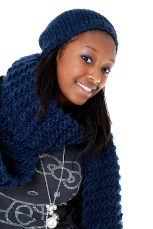 Young african american woman wearing winter dress photo