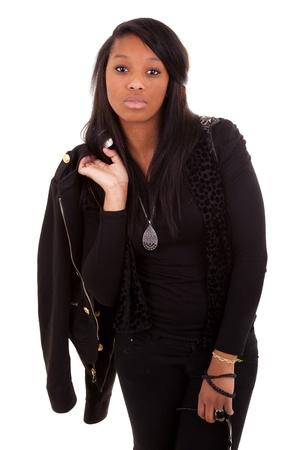 mannequin africain: Belles jeunes africain amareican femme isol�e sur un fond blanc Banque d'images