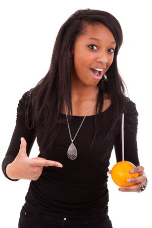 young black woman drinking orange juice Stock Photo - 9145979