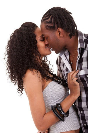 Young  beautiful couple kissing photo