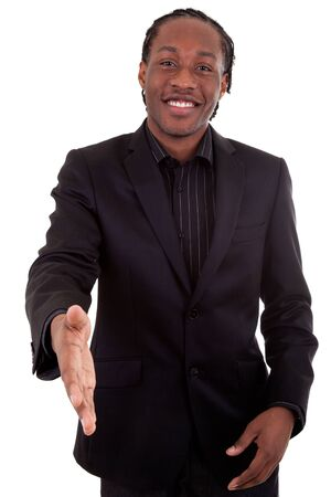 An African American  businessman giving a hand photo