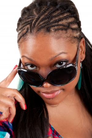 Young African American woman in sunglasses glamour portrait photo