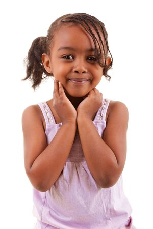 cute little african girl smiling isolated on white background photo