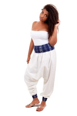 Beautiful black teenage girl isolated on white background Stock Photo - 10080045