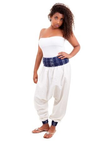 Beautiful black teenage girl isolated on white background Stock Photo - 10080046