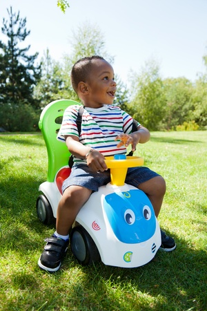 mixed ethnicities: Cute little african american baby boy playing at park