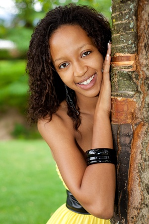 mixed ethnicities: Portrait of a young beautiful african american woman Stock Photo