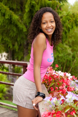 african american woman: Portrait of a young beautiful african american woman Stock Photo