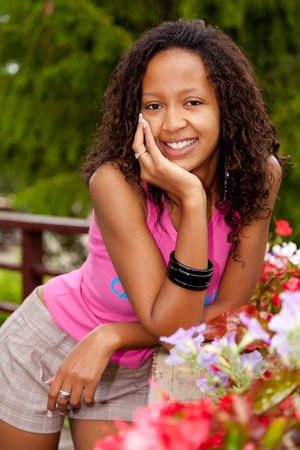 mixed race ethnicity: Portrait of a young beautiful african american woman Stock Photo